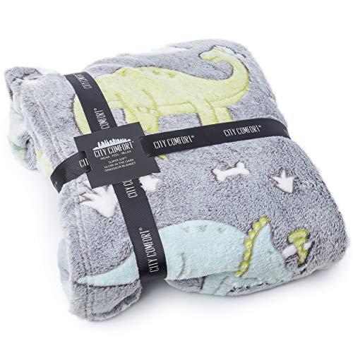 CityComfort Kuscheldecke, Dinosaurier Decke, Kuschelige und Dekorative Flanelldecke für Kinder, Sherpa Fleece Decke, Warm Polar Fleece, Tolle Geschenke für Dino Liebhaber