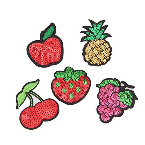 Toruiwa 5X Patches Bestickte Aufnäher Fruchtform Apfel Ananas Kirsche Erdbeere Nähen Patch Sticker Stickerei Applique Badge für Kleid Hut Jeans DIY Kostüm Schmücken