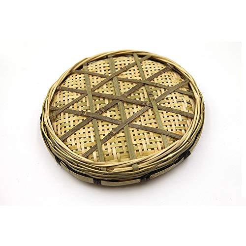 PORCN Multifunktionale Bambus Weben Ablagekorb Obst Rattan Aufbewahrungsbox Für Kosmetik Tee picknickkorb Organizer Handarbeit, 30 cm