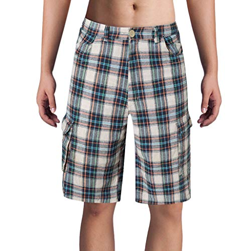 GreatestPAK Herren Lässig Lattice Wide Beach Short Hosen Loose Plaid Shorts Vacation Surf Pants,Rot,EU:XS(Tag:M)
