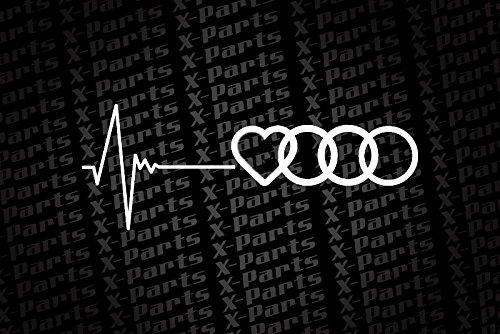 X-Parts Pegatina adhesiva para vehículo, diseño de corazones y Audi, color blanco