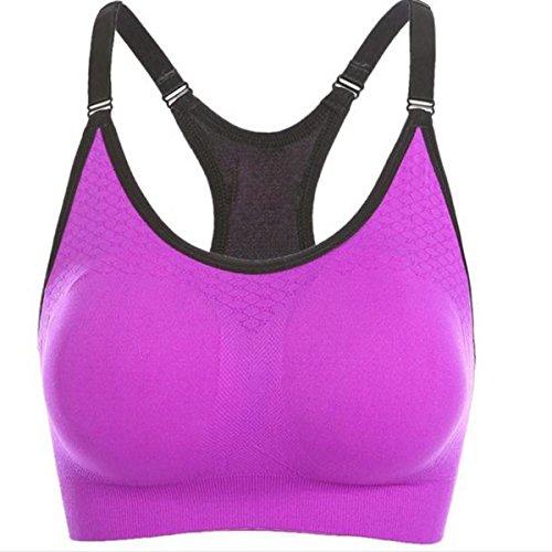 Hsnnyqt Reggiseno Sportivo Giubbotto Di Yoga Fitness Traspirante Di Grandi Dimensioni Senza Reggiseno Di Registrazione Traccia Dormire Biancheria Intima Purple