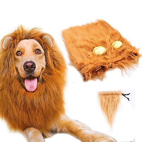 SLCW Löwenmähne, Löwenmähne, Perücke für mittelgroße bis große Hunde mit Ohren und Schwanz, Fancy Lion Haar für Urlaub, Fotoshootings, Party, Festival, Anlass (Lion's Mane Hunde Kostüm)