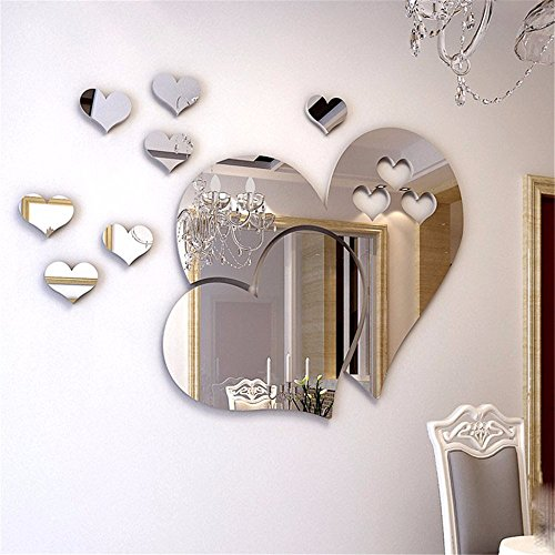 XJKLFJSIU Romantische Liebe Spiegel 3D Stereo Wandaufkleber Selbstklebende Wandaufkleber Kleider Spiegel Wand Dekorative Wohnzimmer Schlafzimmer Restaurant (Kleider Baby Gefrorenen)