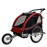 Rimorchio porta-bimbo per bicicletta con set da jogging - ROSSO/nero 602-D01