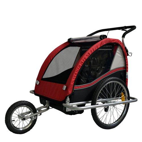 Kinderfahrradanhänger Fahrradanhänger Kinder-Fahrrad-Jogger 2in1 602-D01 Farbe: ROT