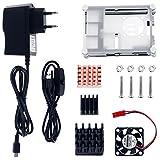 Zacro 5 in 1 Kit Accessori per Raspberry Pi 3 2 Modello B, Cavo Adattatore USB, Cavo USB, 3 Dissipatori di Calore, Case Raffreddamento 9 Piani, Mini Ventilatore con 4 Viti immagine