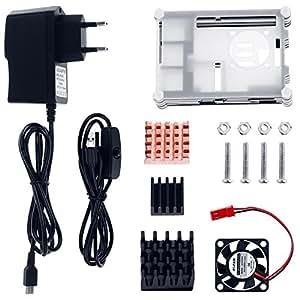 Zacro 5 in 1 Kit Accessori per Raspberry Pi 3 2 Modello B, Cavo Adattatore USB, Cavo USB, 3 Dissipatori di Calore, Case Raffreddamento 9 Piani, Mini Ventilatore con 4 Viti