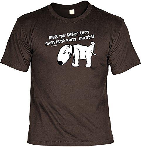 Cooles Tier T-Shirt für Tierliebhaber - Bleib mir lieber fern mein Hund kann Karate Geschenk Hundefreunde Hundeliebhaber Farbe: braun Braun