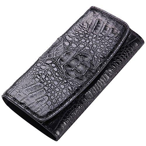 GAVADI da uomo vera pelle coccodrillo Bifold Portafoglio Denaro Clip nero G503