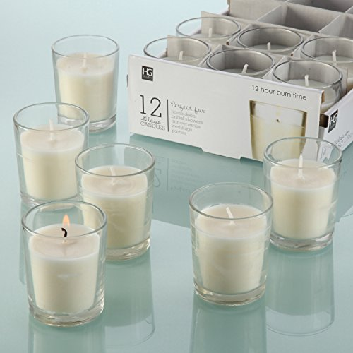 Hosley-Set-of-12-Unscented-Clear-Glass-Filled-Votive-Candles-12-Hour-Burn-Time-Glass-Votive-Hand-Poured-Candle-Included-Ideal-for-Aromatherapy-Weddings-Party-Favors