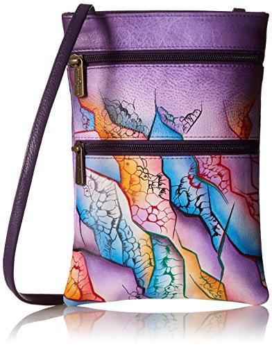 Anuschka Hand bemalte Designer Handtaschen aus Leder für Frauen-Mini Travel Umhängetasche (Cosmic Quest 448 CCS) (Anuschka Umhängetasche)