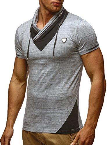 LEIF NELSON Herren Sommer T-Shirt Stehkragen Slim Fit Casual Baumwolle-Anteil | Cooles weißes schwarzes Männer Kurzarm-T-Shirt Hoodie-Sweatshirt-Longsleeve lang | LN805 Grau Medium