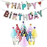 JZK Happy Birthday Festone Striscione Buon Compleanno con 11 Cappellino Cappello Compleanno Accessorio Decorazione Festa Compleanno Bambini Bambina Bambino