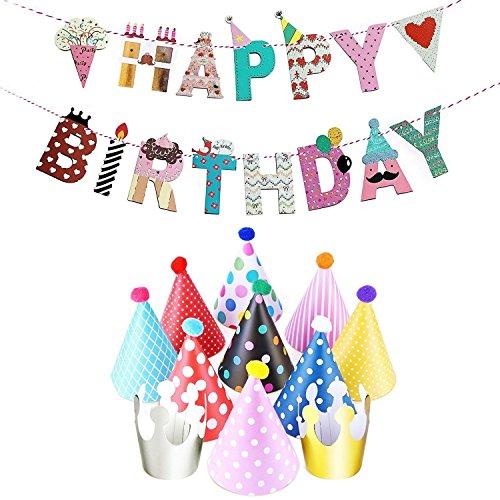JZK Geburtstagsdeko, Geburtstag Dekoration Set, 1 Stück Happy Birthday Banner + 9 Stück Bunte Hüte + 2 Stück Kronen für Männer und Frauen Kindergeburtstag Geburtstag Party Dekoration