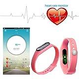 YUNTAB conectado pulsera de reloj del deporte SmartWatch Bluetooth Bluetooth 4.0 Rastreo de Actividad Sleep Heart tarifas para Smartphone Android y Apple iOS iPhone (rosado)