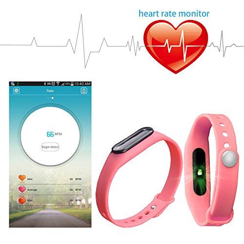 YUNTAB Bracelet Connecté Bluetooth SmartWatch Montre Sport Bluetooth 4.0 Tracker d'activité Sommeil Rythme Cardiaque pour Smartphone Android et Apple iOS iPhone (Rose)
