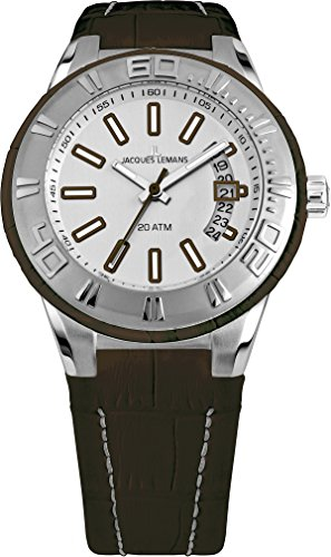 Jacques Lemans Miami Gents Brown Leather Strap Watch 1-1770F