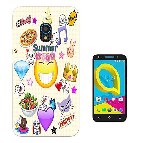 Preisvergleich Produktbild 002718 - Emoji Sticker Crown Heart Diamond Cat Happy Design alcatel U5 4G Fashion Trend Silikon Hülle Schutzhülle Schutzcase Gel Silicone Hülle
