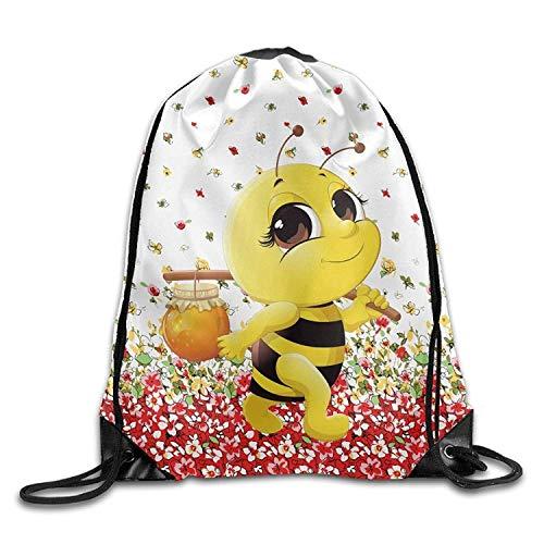 KIMIOE Turnbeutel Honey Bee Halloween Unisex Gym Large Drawstring Bucket Bag Shoulder Bag Backpack String Bags