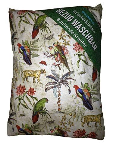 Kräuterkissen mit 8 verschiedenen Heilkräutern, Bezug Waschbar , Papagei Bunt ca. 20x24 cm, gefüllt mit Kräuter wie Hopfen , Melisse, Fenchel, Minze, Rosenblütenblätter, Lavendel, Ysop, Quendel -