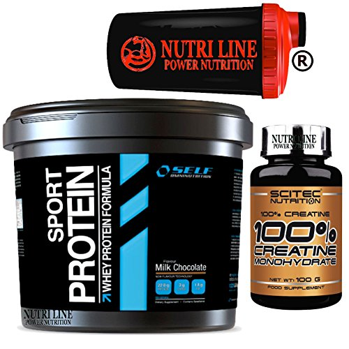 Self sport 900 gr. proteine siero del latte concentrate gusto cioccolato + shaker nutriline e 100 gr. creatina monoidrato in polvere 100% scitec