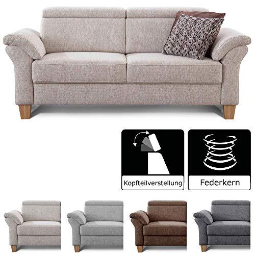 Cavadore 3-Sitzer Sofa Ammerland / Couch mit Federkern im Landhausstil / Inkl. verstellbaren Kopfstützen / 186 x 84 x 93 / Strukturstoff weiß-beige -
