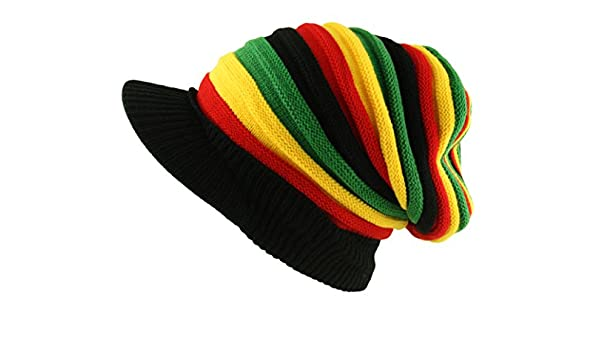 6d94abb270 Oversized Rasta Slouch Beanie Cap Hat with Peak in Black Red Yellow ...