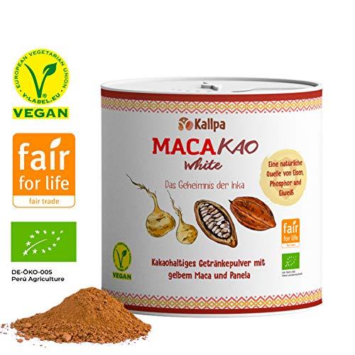 Macakao White 125g Premium-Trinkschokolade mit gelbem Maca (45%), Kakao und Panela✓Natürlicher Energielieferant ohne Koffein oder Zusatzstoffe✓Der Food-Trend aus Südamerika✓Bio, vegan und Fair Trade