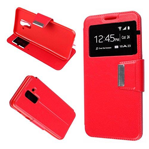 Misemiya ® ® - Funda Samsung Galaxy A6 Plus 2018 / Samsung Galaxy A9 Star Lite - Funda Solo, Libro View Sporte,Rojo