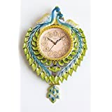 FunkyTradition Multicolored Green Peacock Pendulum Wall Clock, Wall Watch, Wall Decor For Home Office Decor And Gifts 42 Cm Tall