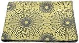 David Fussenegger Sylt Baumwolldecke Kreisformen afrikanisch, Baumwoll/Mischgewebe, Hellgelb/anthrazit, 200 x 140 cm