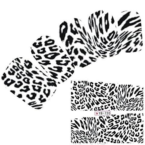 JUSTFOX - Tattoo Nail Art Aufkleber Zebra Muster Schwarz Weiß Sticker