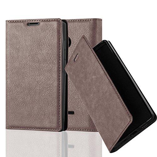 Cadorabo Hülle für Nokia Lumia 435 - Hülle in Kaffee BRAUN – Handyhülle mit Magnetverschluss, Standfunktion und Kartenfach - Case Cover Schutzhülle Etui Tasche Book Klapp Style