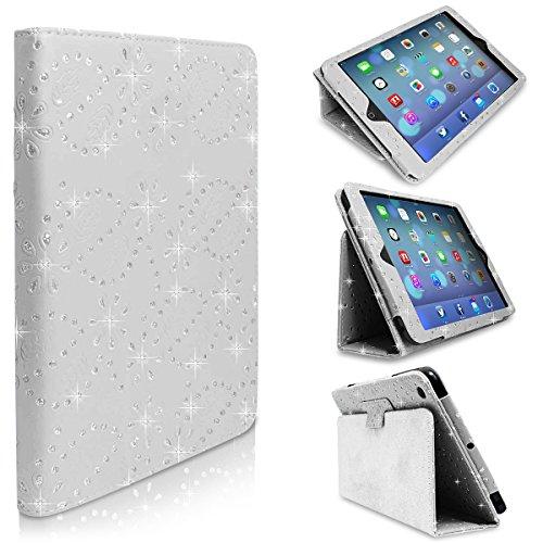 Weiß Diamant Bling SPARKLY Gem Glitter Leder Flip Schutzhülle Tasche für Apple iPad Mini 1./2./3. Generation & Große Eingabestift von World of Mobile®