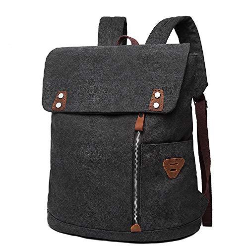 ZHANG Rucksack Daypack aus Canvas Leder Rucks?cke Vintage Retro Tagesrucksack,Business Rucksack Herren, Laptop-Rucksack,Damen Herren,Rucksack Daypack aus Canvas Leder,Gray (Handwerk Verstärkungen)