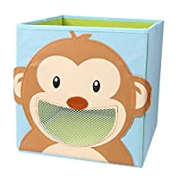 LEADSTAR Foldable Toy Storage Box , Cartoon Children Toys Chest and Closet Organizer for Kids (Smiling Monkey)