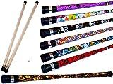 ART DECO Pro Devil Stick Set (7 Arty Designs!) Mit Silikon-Holz handstäbe! Ideal für Anfänger Jonglieren Devilsticks & Pro ist! (DRAGONS)