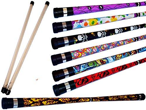 ART DECO Pro Devil Stick Set (7 Arty Designs!) Mit Silikon-Holz handstäbe! Ideal für Anfänger...