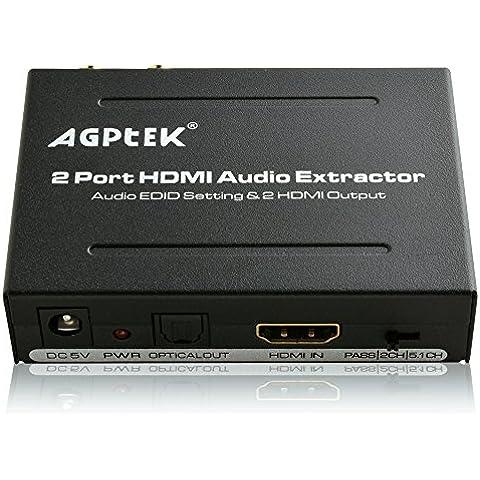 AGPtek 1 x 2 Divisor Extractor integrado de Audio L/R RCA estéreo y salidas de Audio ópticas - entrada de la ayuda HDMI hasta 1080p a 60 Hz, soporta 3D