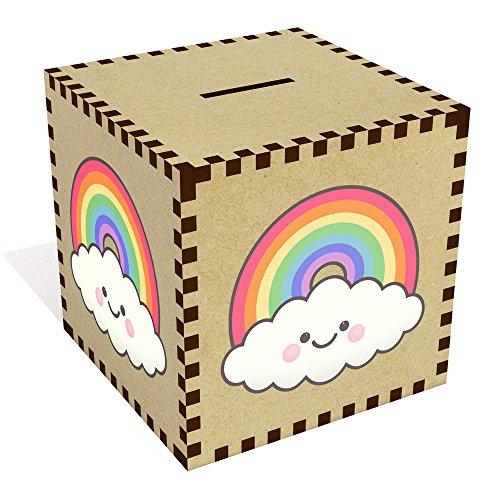 Azeeda Grande 'Feliz Nube de Arcoiris' Caja de Dinero / Hucha (MB00069184)