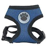 CHUNXU Hundegeschirr mit Pfotenabdruckmotiv, verstellbar, weich, atmungsaktiv, Nylon, Netzgewebe, für Welpen, weich, Dunkelblau, XS