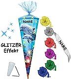 alles-meine.de GmbH 3-D Glitzer Effekt _ ! - Schultüte -  Delfinfamilie / Fische  - 85 cm / 12 eckig - incl. Namen und individueller Schleife - Organza Abschluß - Zuckertüte - ..