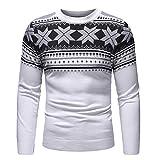 Xmiral Herren Herbst Winter Pullover Gestricktes Oberteil Weihnachts Strickjacke (XL,Weiß)