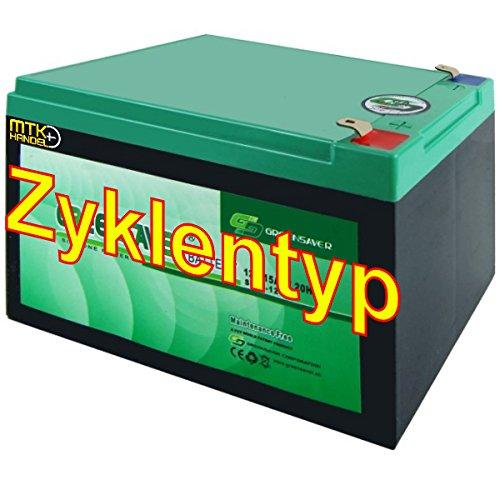GREENSAVER SP15-12 (SP12-12) / 12V 15Ah Blei-Silikon Power Akku Zyklentyp