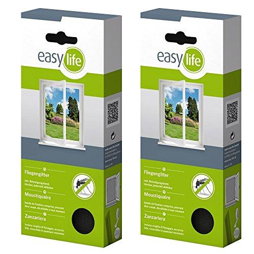 easy life® Fliegengitter für Fenster 3,00 x 1,50 m anthrazit durchsichtig - perfekter Schutz vor Insekten (2er Set)