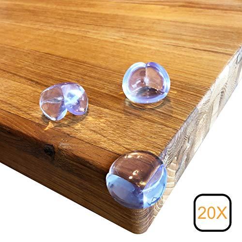 Keroos Eckenschutz und Kantenschutz transparent aus Silikon für Tisch und Möbelecken - Stoßschutz für Babys und Kinder - 3 M Kleber (12/20 Stück)