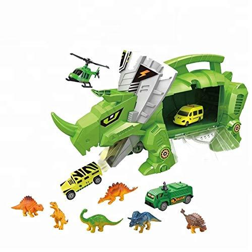 DHYBDZ Kinderspielzeug Mechanische Spielzeugauto Dinosaurier Modell Tragbare Container LKW Transport Auto Anzug für Jungen und Mädchen Weihnachten Geburtstag (Weihnachten Anzüge Für Jungen)