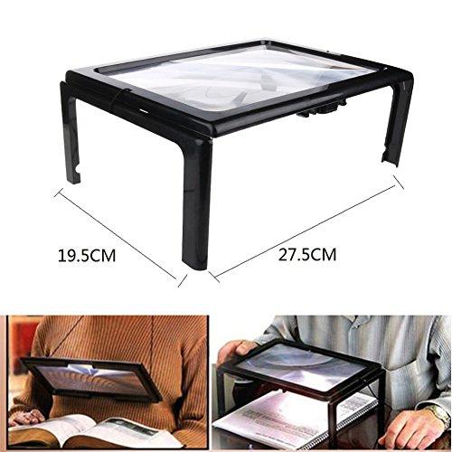 Dawn® A4 Full Page Hands 3X Vergrößerung Lupe - mit LED-Licht für das Lesen - Ultra-dünne Linse Stand Foldable Desk - Geschenk für ältere Menschen