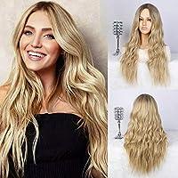Perücke Blond Damen Lang Locken Gewellte Kunsthaarperücke für Frauen Mittelteil Mode Super Natürlich Wig VD067
